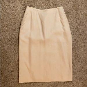 Vintage Beige Pencil Skirt